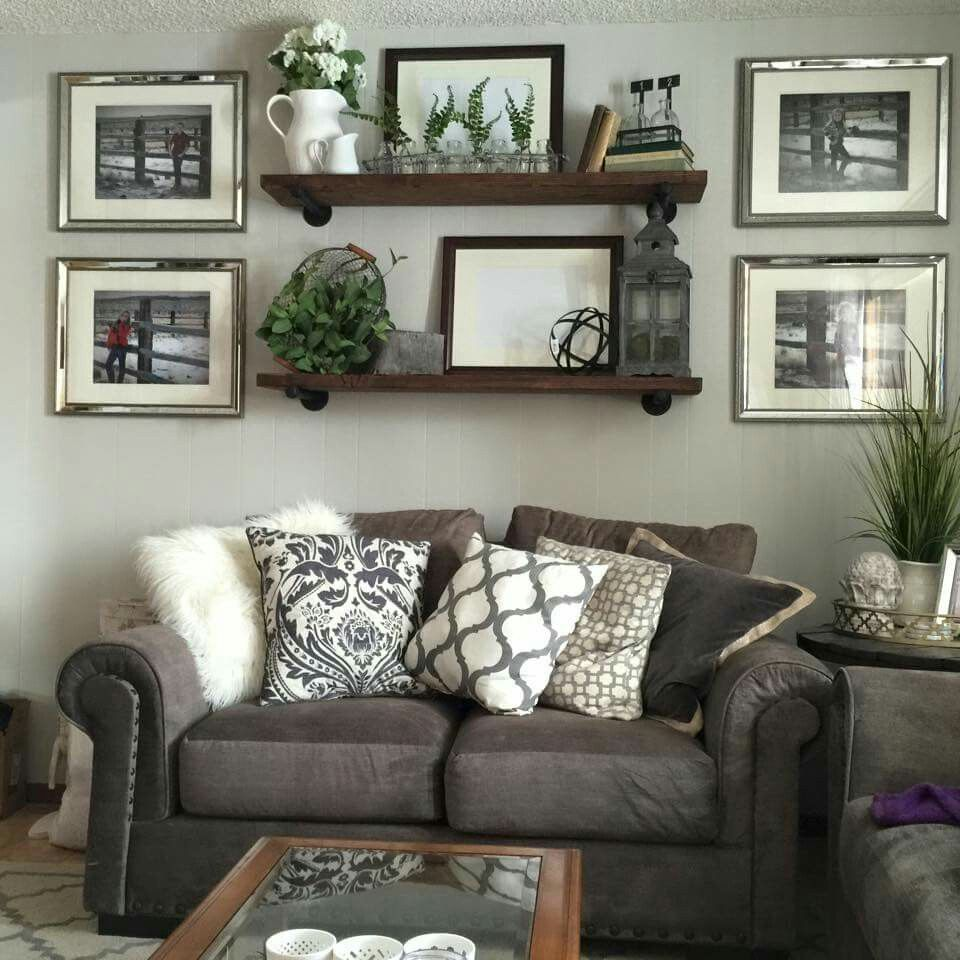 Shelving | Brown living room decor, Farmhouse decor living ...
