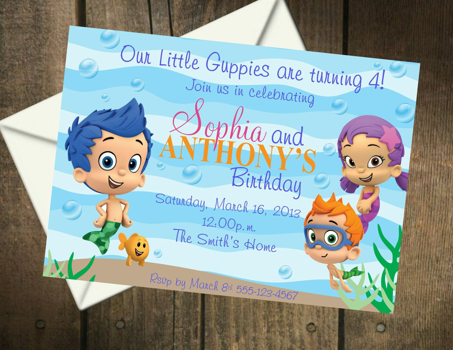 Bubble Guppies TWINS Birthday Party Printable Insert – Bubble Guppies Party Invites