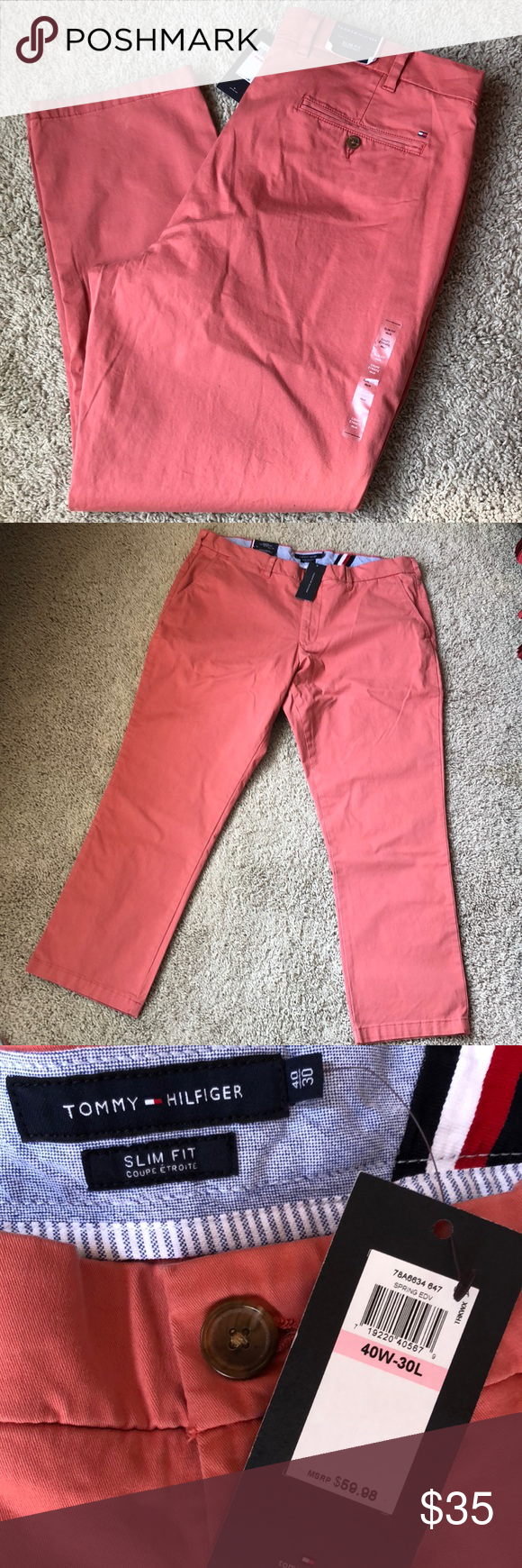 "36ccff37f Tommy Hilfiger Slim Fit Chino Slim fit Coupe Etroite chino in color  ""Spring"" which isn't all that helpful but pics are pretty true to the color."