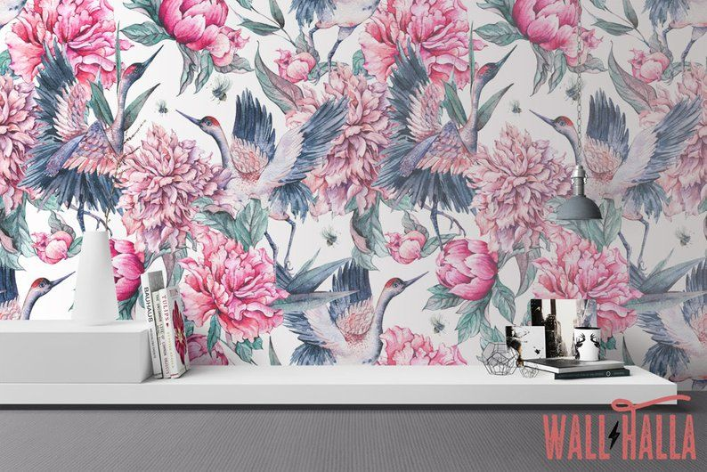 Seamless Crane Peel And Stick Wallpaper Removable Self Etsy Chinoiserie Wallpaper Peel And Stick Wallpaper Wallpaper
