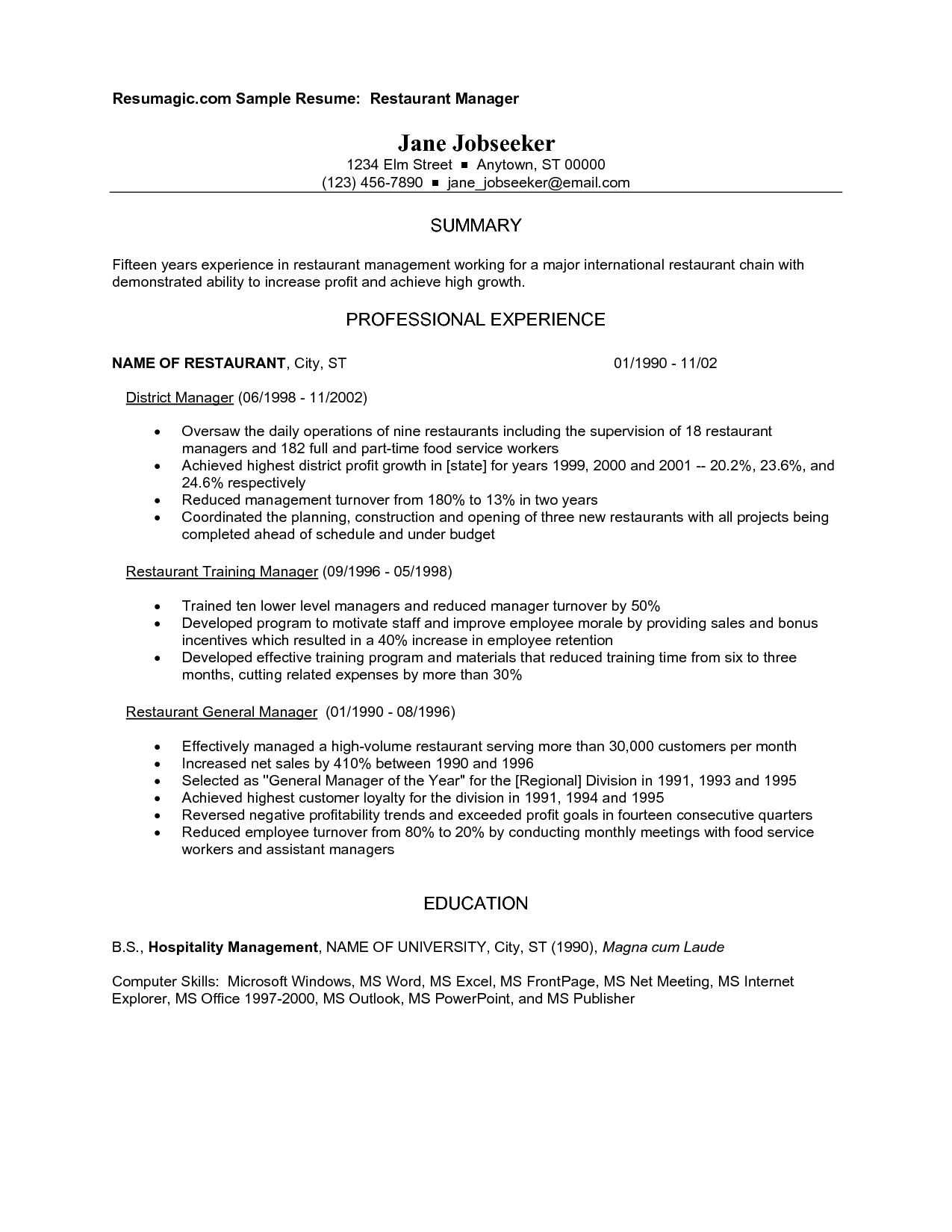 resume Restaurant Objectives For Resume restaurant manager resume example httpwww resumecareer info inforestaurant