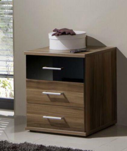 Shiny Walnut Gloss 3 Drawer Bedside Table Unit Bedroom ...