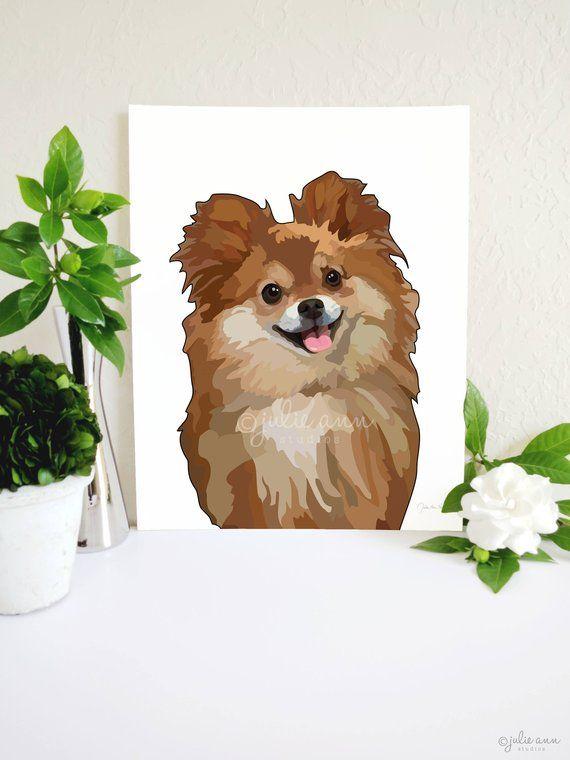 Pomeranian Art Print Pomeranian Painting Pomeranian Gift Dog