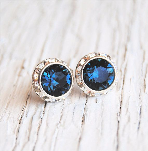 Navy Blue Bridesmaid Earrings Nautical Wedding Swarovski Crystal Diamond Rhinestone Stud Sugar Sparklers Clip On Studs
