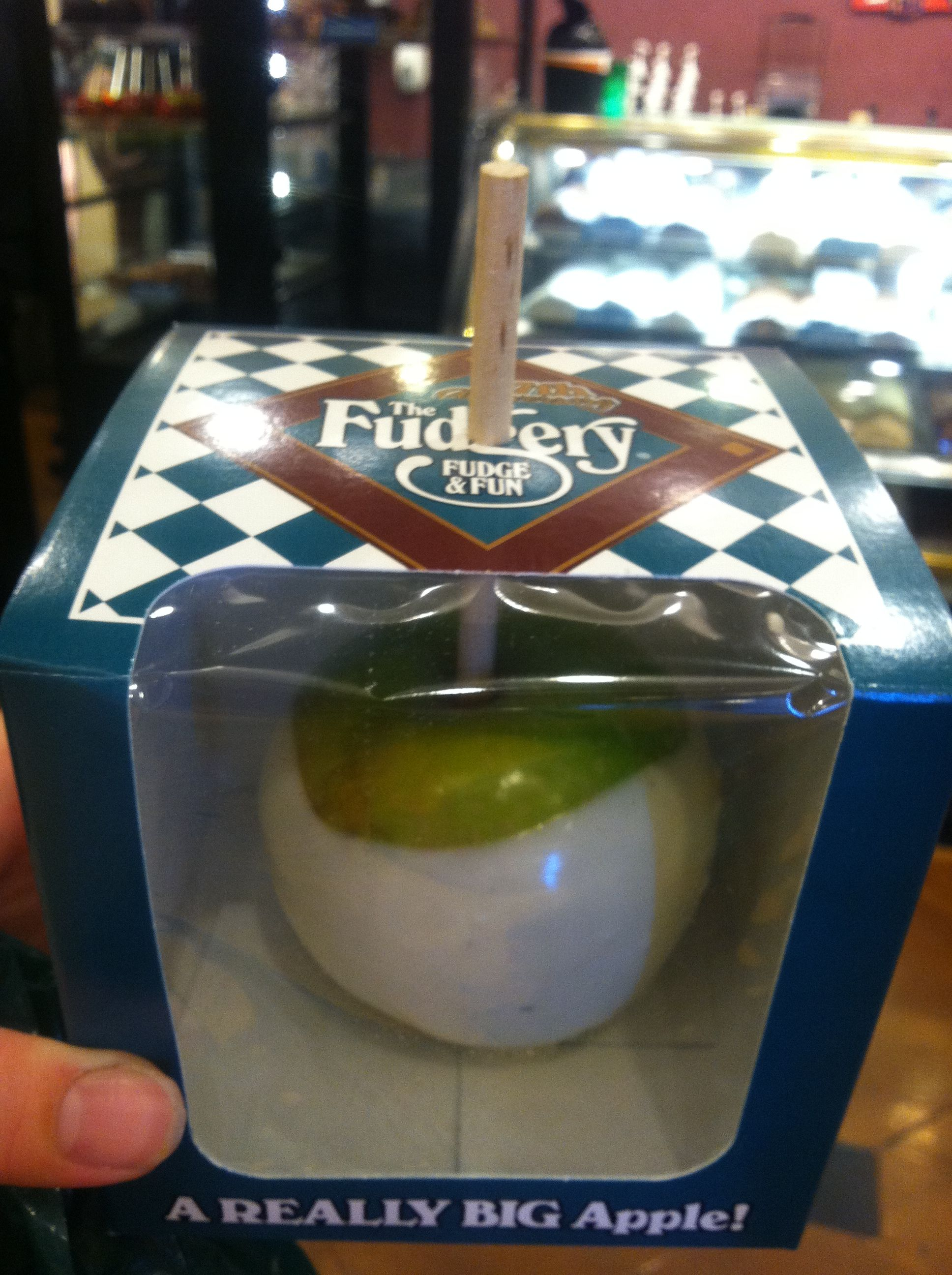 White Chocolate Covered Apple From The Fudgery In Gatlinburg. #Gatlinburg  #Tennessee #dining
