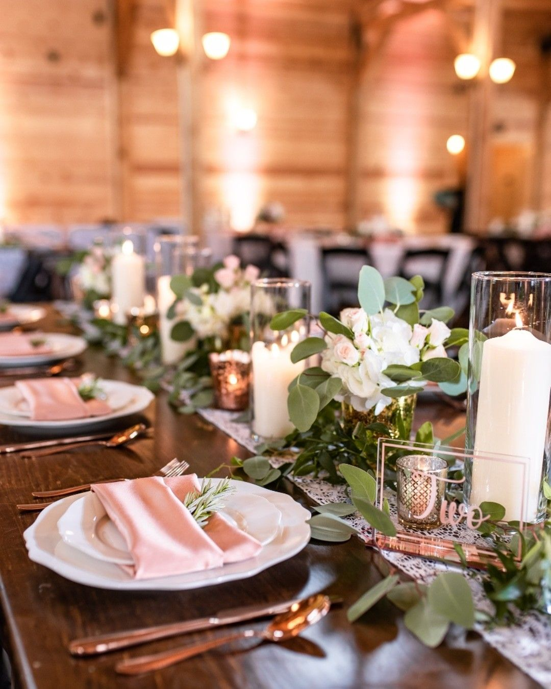 Pink And White Barn Wedding Decor With Rose Gold Elements Acrylic Table Numbers Candl Wedding Floral Centerpieces Wedding Table Centerpieces Farm Table Decor