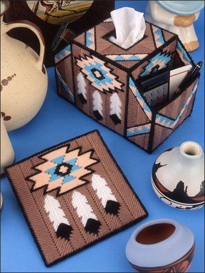 Plant Decor Southwest Desert Designs In Plastic Canvas Leisure Arts #1264 Tissue Cover Plastic Canvas Pattern Coaster
