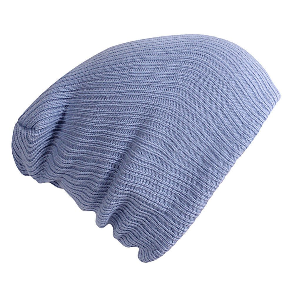 ff8917e71d2 2pc Men Women Knit Baggy Oversize Winter Hat Unisex Ski Slouchy Skull Cap  Blue  fashion