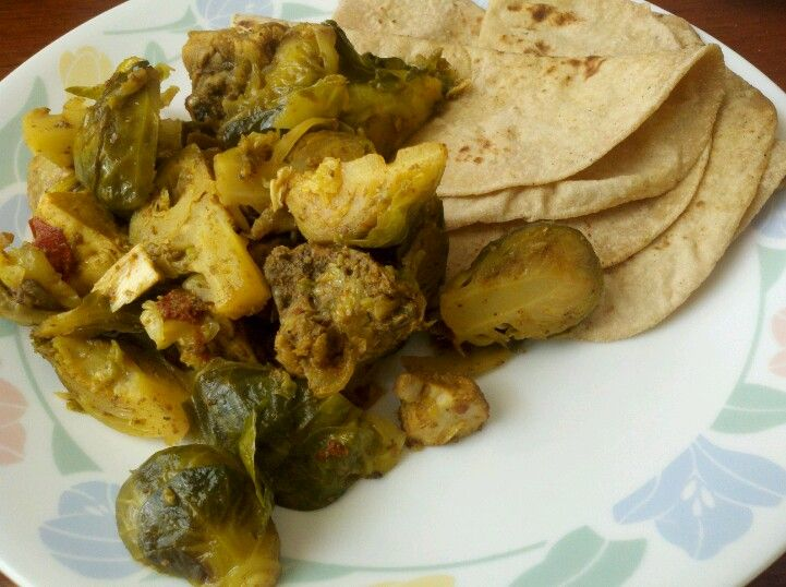 How to eat brussels sprouts : Curry it with Cornish Hen and pair with chappathi.