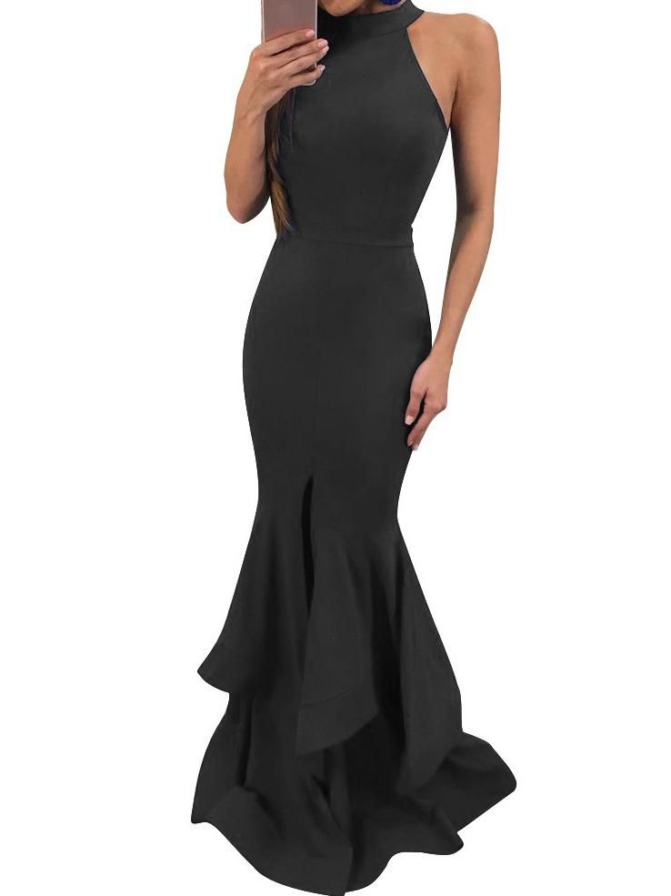 66ff71c5dfcda Sexy Sleeveless Mermaid Solid Color Bodycon Evening Maxi Long Dress