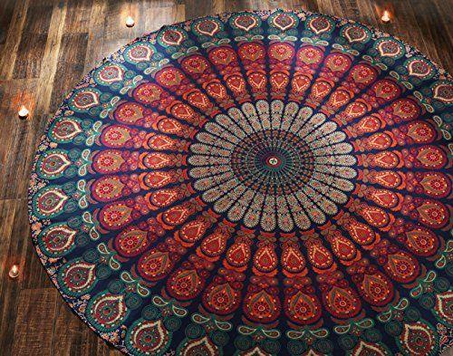 Indian Peacock Floral Tapestry Mandala Round Beach Towel Yoga Blanket Bedspread