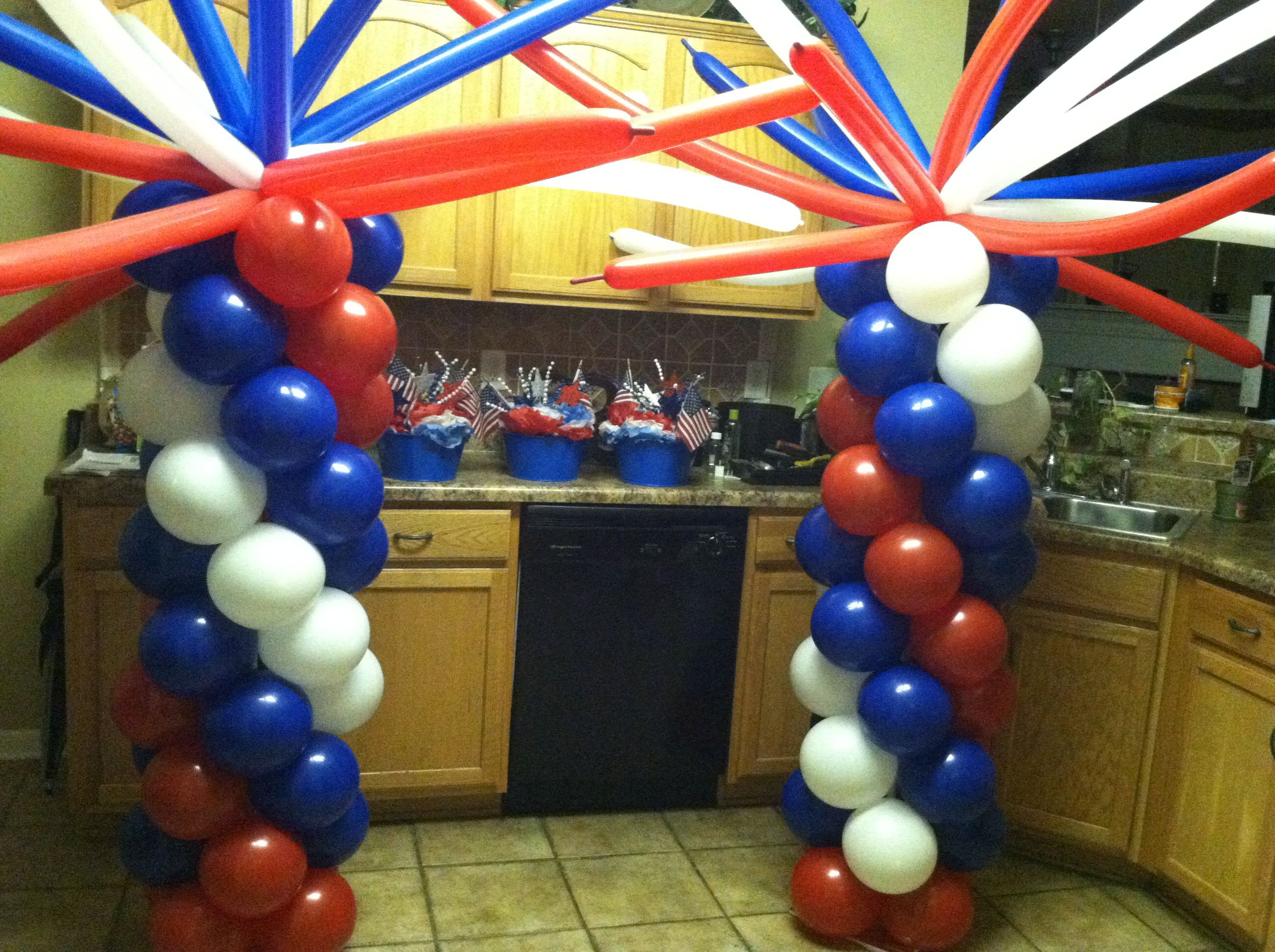 Red white blue balloon decorations pinterest