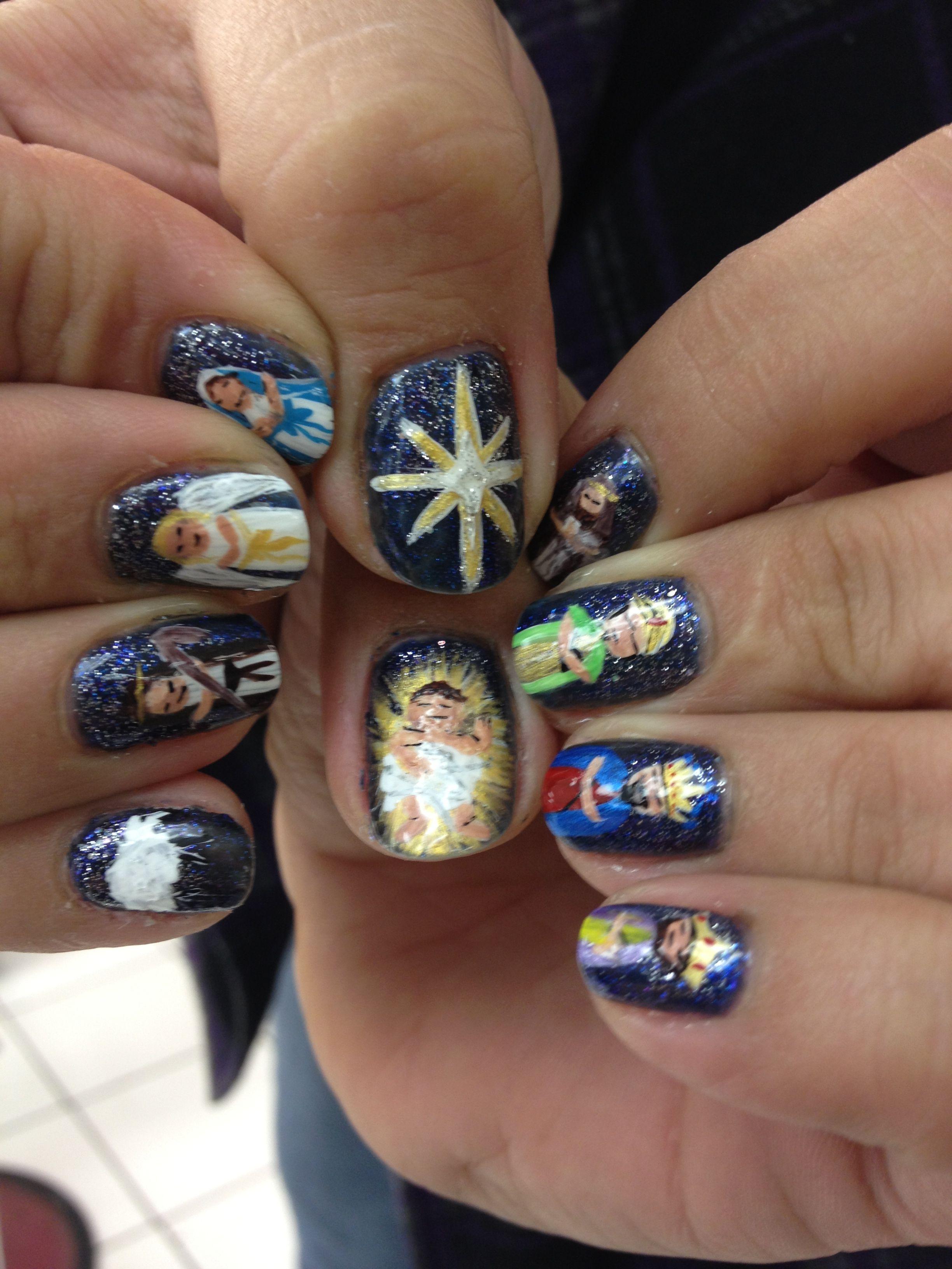 Nativity scene nails :)   Hair & Beauty   Pinterest   Creative nails