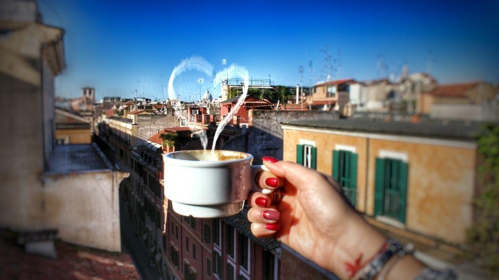 Fare colazione con vista panoramica dei tetti di Roma e della cupola ...