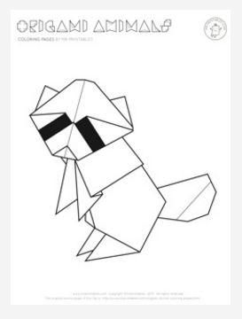 Origami Raccoon Coloring Page Origami Animals Animal Coloring