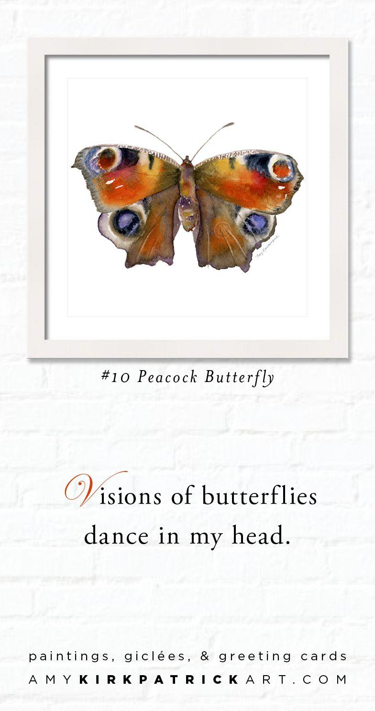 10 peacock butterfly butterfly watercolor art butterfly prints
