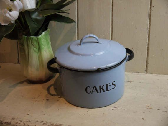 Very Rare Antique Enamel Cake Tin  Pastel Blue by VintiqueTree