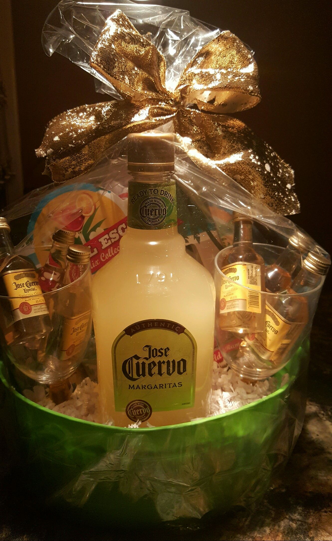 liquor gift basket fundraiser ideas i used small jose cuervo tequila in tall margarita glasses different flavors of margarita flavors