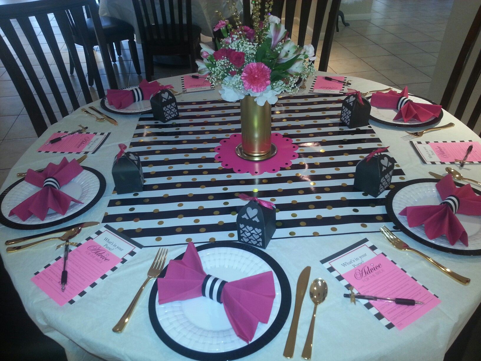 Kate spade theme shower table settings black white pink for Dots and stripes party theme