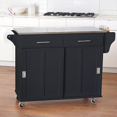 Kitchen Cart Sliding Door Stainless Steel Top Jcpenney Roll
