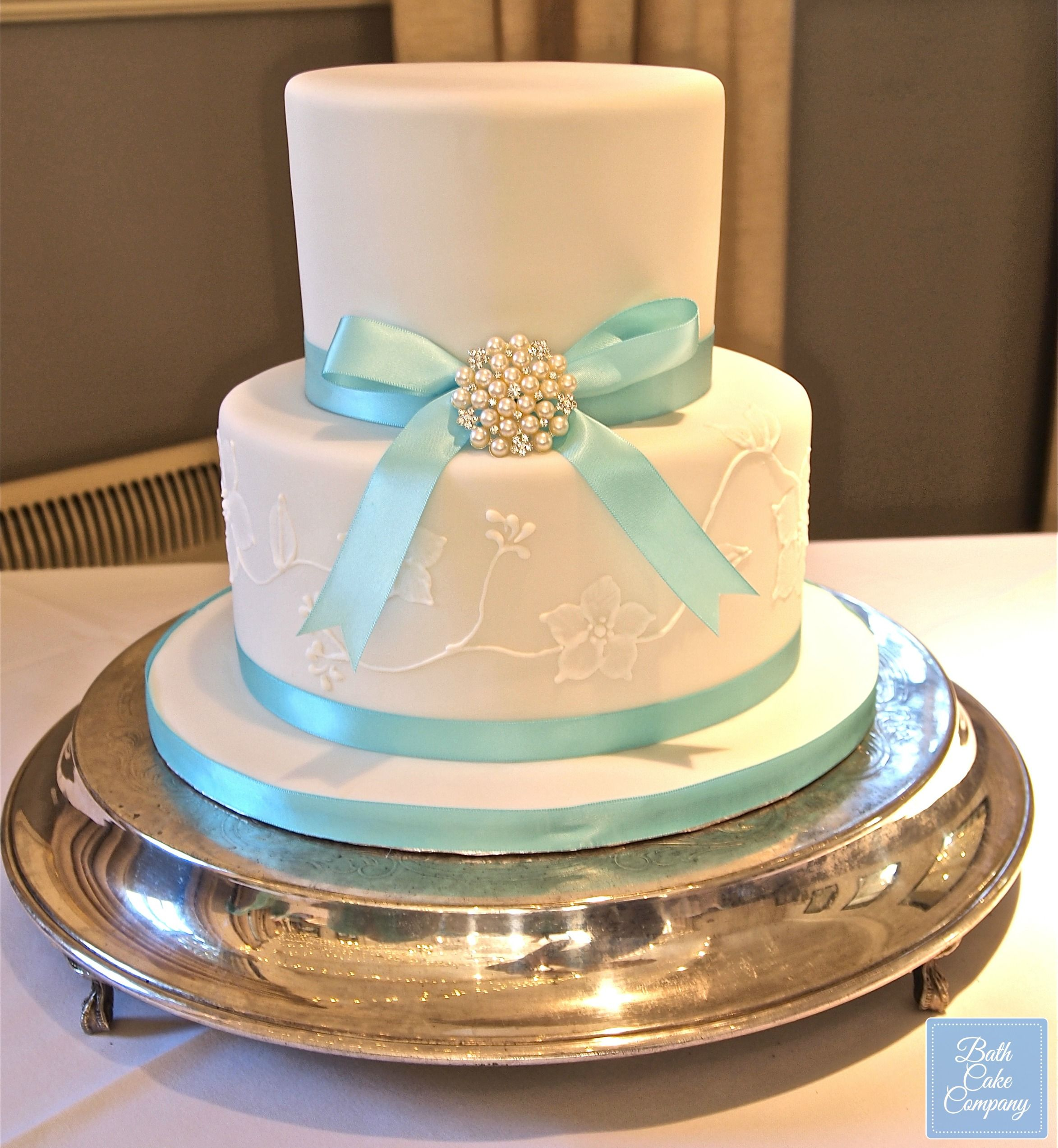 A Beautiful Two Tier Wedding Cake with Brush Embroidery by Bath Cake ...