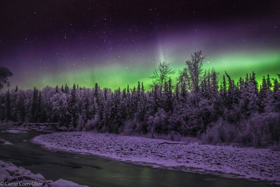The Aurora Seen From The Back Roads Of Joint Base Elmendorf-Richardson, December 10, 2015. Photo Sent In By Ben N Carrie Olier.