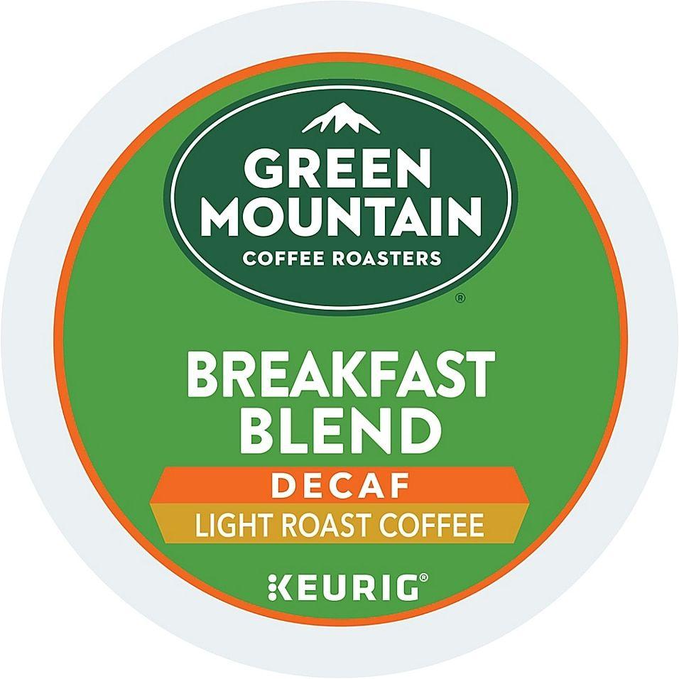 Single Serve Coffee K-Cup Pod Light Roast Green Mountain Coffee Roasters Breakfast Blend Decaf 32