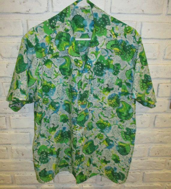 29254afa6 Vintage Hawaiian Shirt Aloha Shirt Atomic Retro Green White Shirt ...