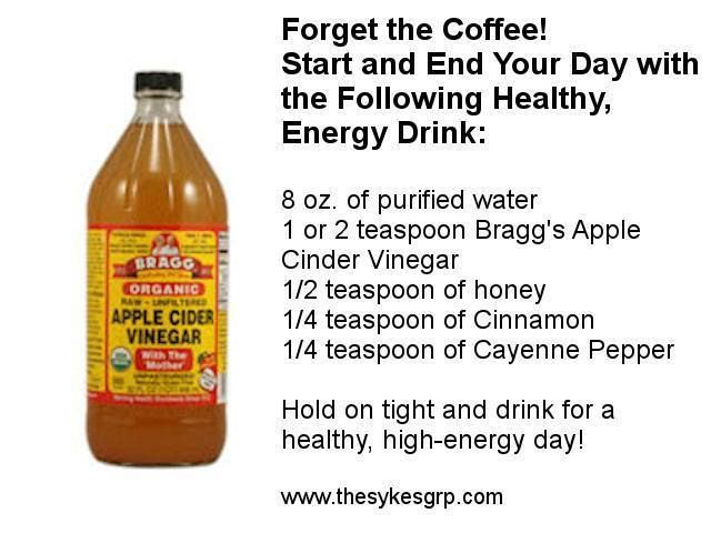 I use 16oz of water, 1-2 Tbsp ACV, a little honey or stevia sweetener, 1/2  tsp cinnamon and 1/2 tsp cayenne. It's delicious!!