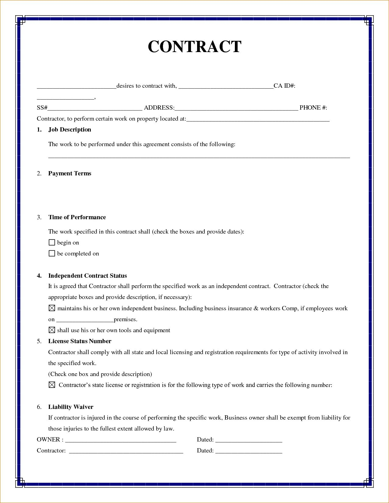 Simple Contract Agreement Contractor Contract Construction
