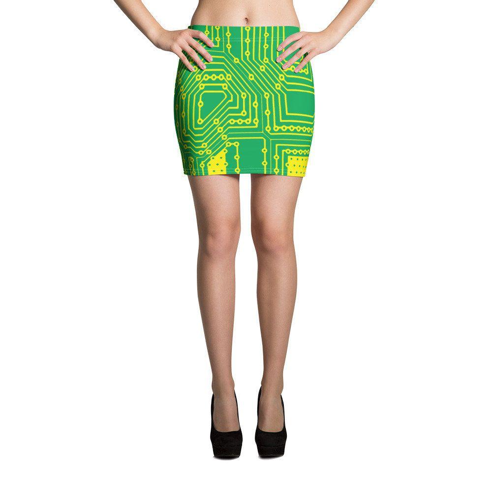 Cyberpunk Clothing Circuit Board Mini Skirt Cyber Skirt Cyber Punk Cyber Goth Cyberpunk Cosplay Futuristic Clothing Cyberpunk Skirt