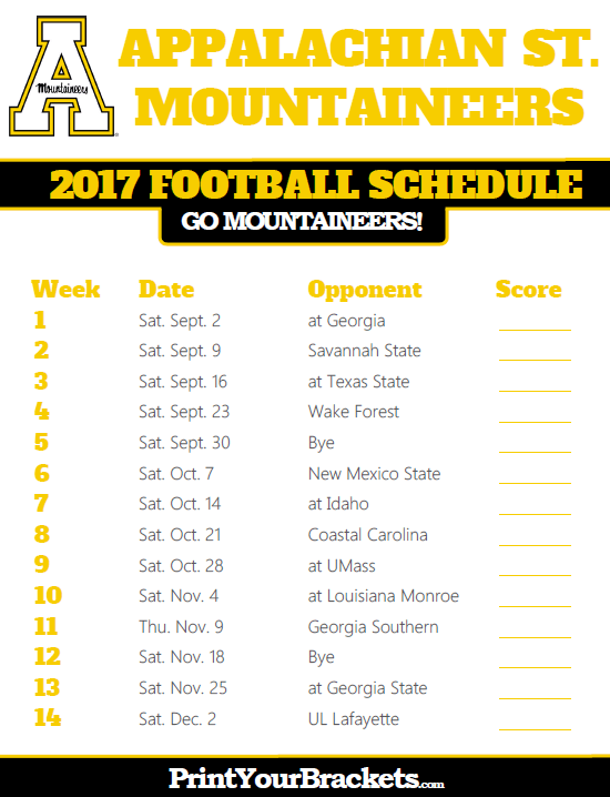 2017 Appalachian State Mountaineers Football Schedule Printable