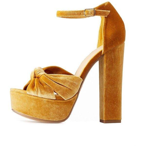 b896ad216fa Charlotte Russe Velvet Two-Piece Platform Sandals (1