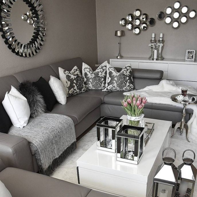 Schwarz Weiß und Grau Wohnzimmer Design #wohnideenwohnzimmer ...