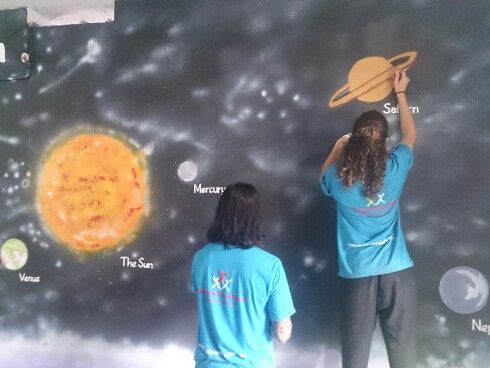 Painting murals in school