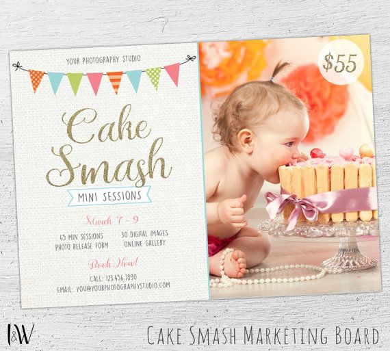 Cake Smash Mini Session Template, Cake Smash Marketing Board