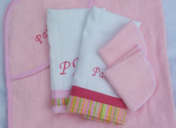 Baby girl gift set in pink 5 pcs hooded towel washcloths burp baby girl gift set in pink 5 pcs hooded towel washcloths burp cloths embroidered names included negle