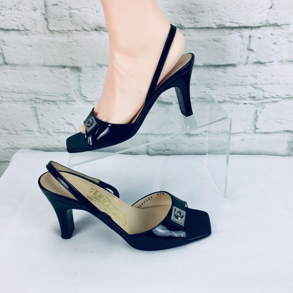 5517559dd Vintage Salvatore Ferragamo Florence 6 B Peep Toe Slingbacks Heels Sandals # SalvatoreFerragamo #Slingbacks