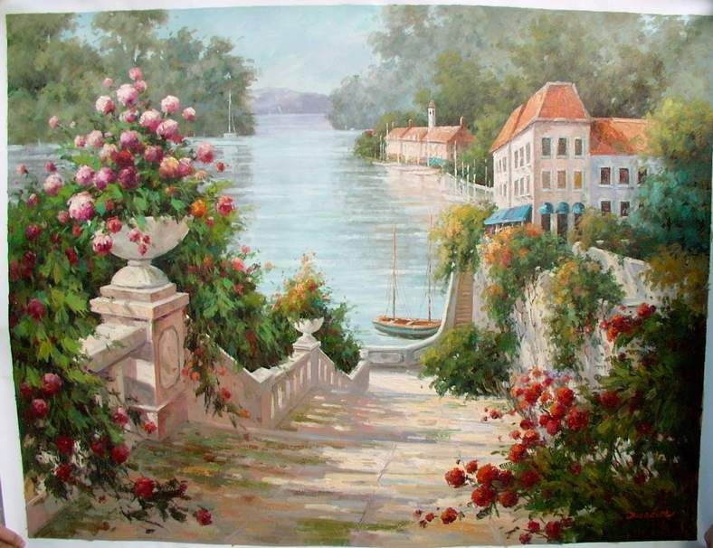 oil paintings of flower gardens oil painting reproductions garden oil painting oil painting - Flower Garden Paintings