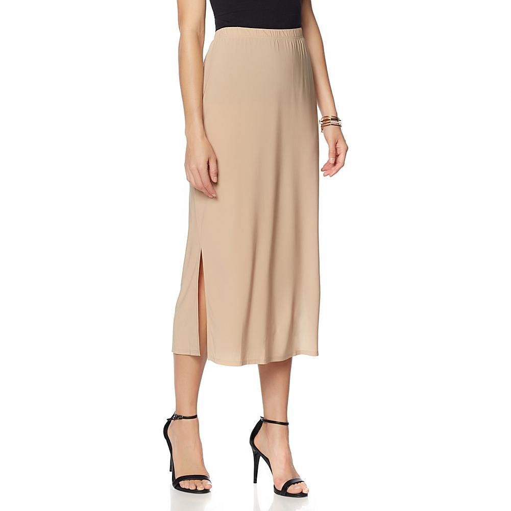 Slinky brand pack knit maxi skirts with side slits yellowroyal