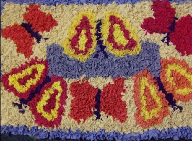 Rag Rug With Bright Colourful Erfly Pattern