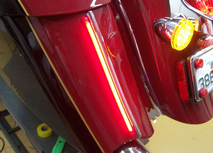 Two 14 section Amp'd Z-Flex LED Strips on the back of the saddlebags