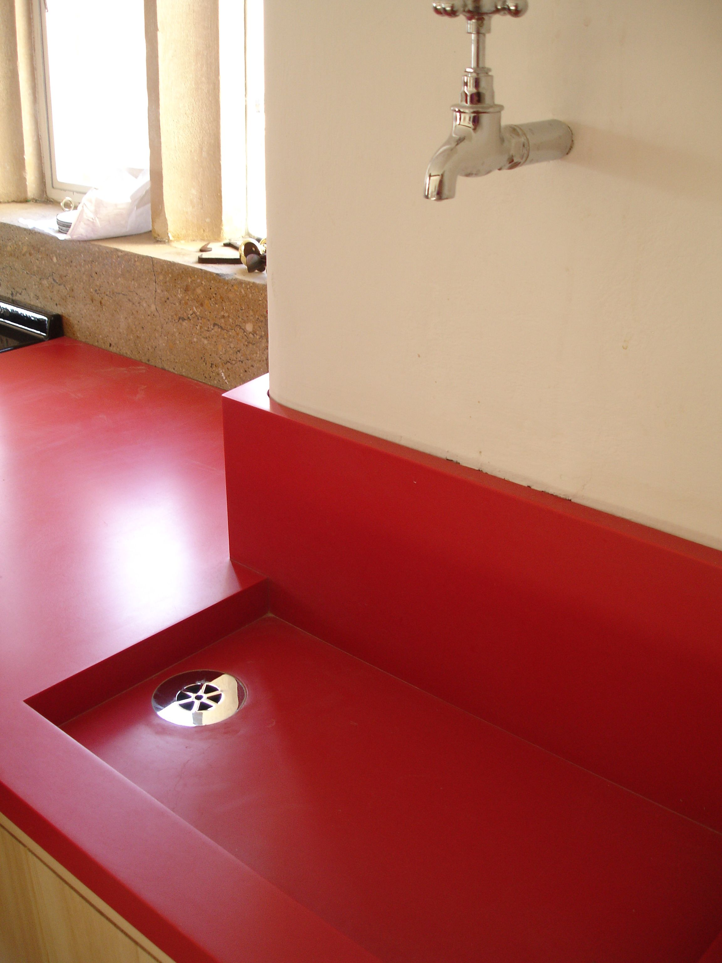 Red Custom Corian Sink  Counter Production