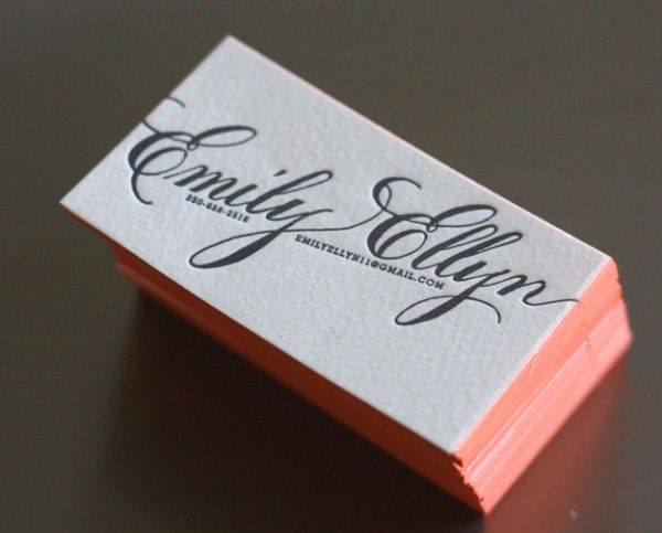 emily ellyn business cards printed onto 110 luxe paper and edge