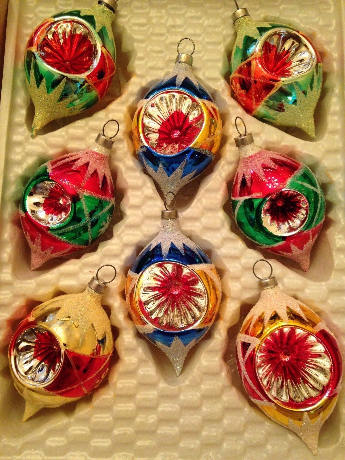 box 8 indent vtg glass xmas teardrop mica glitter reflector ornaments ebay vintage christmas ornaments