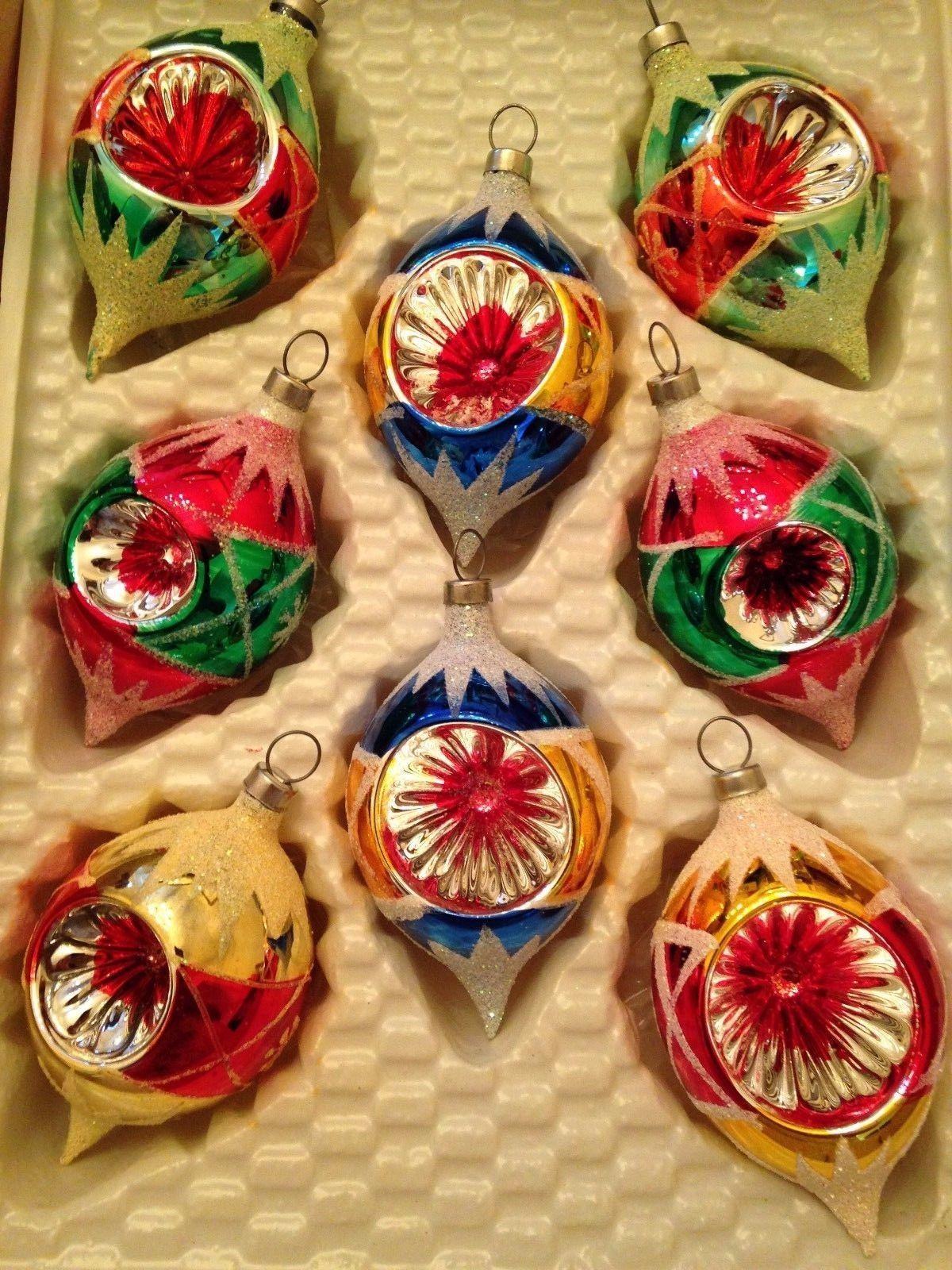 Box 8 Indent Vtg Glass Xmas Teardrop Mica Glitter Reflector Ornaments Antique Christmas Ornaments Vintage Ornaments Christmas Ornaments