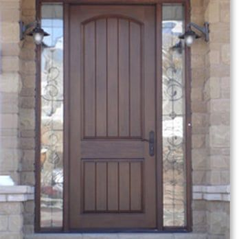Fiberglass Rustic 8\' tall entry door with sidelights. http://www ...