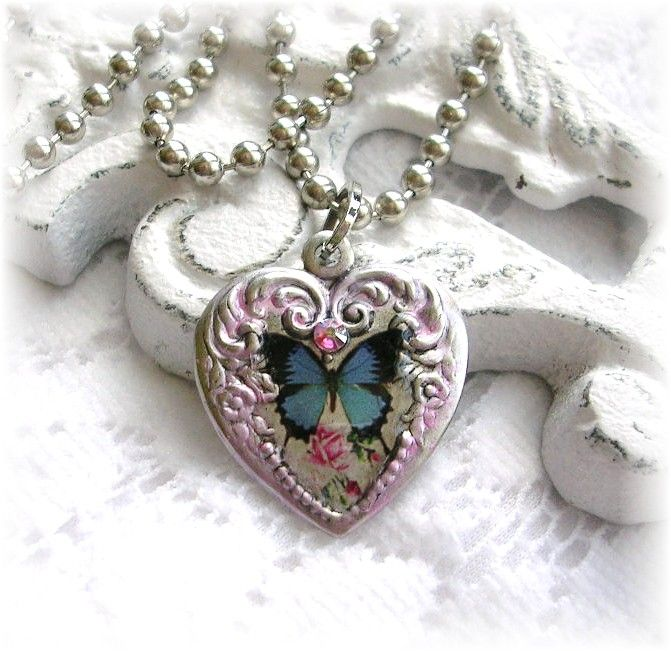 Blue Butterfly Pink Heart Charm Necklace Vintage Shabby Chic Floral