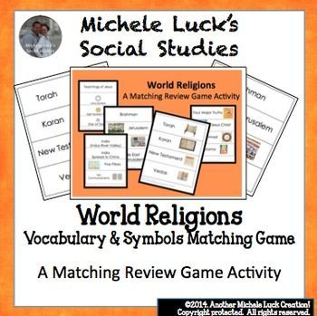 Included are 36 terms or concepts on the 5 Major World Religions.  I cut each in a strip, laminate the cards, and pass them out to my students as a review game.  The students must take their card and match with their classmates to complete the characteristics of the religion.