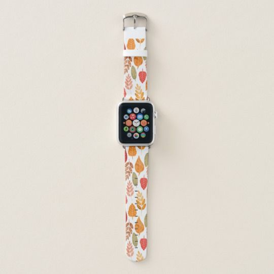 Painted Autumn Leaves Pattern Apple Watch Band Zazzle